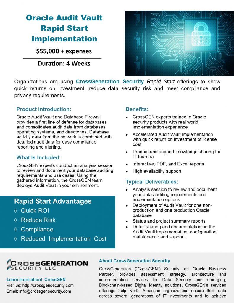 Oracle Audit Vault   CrossGeneration Security LLC